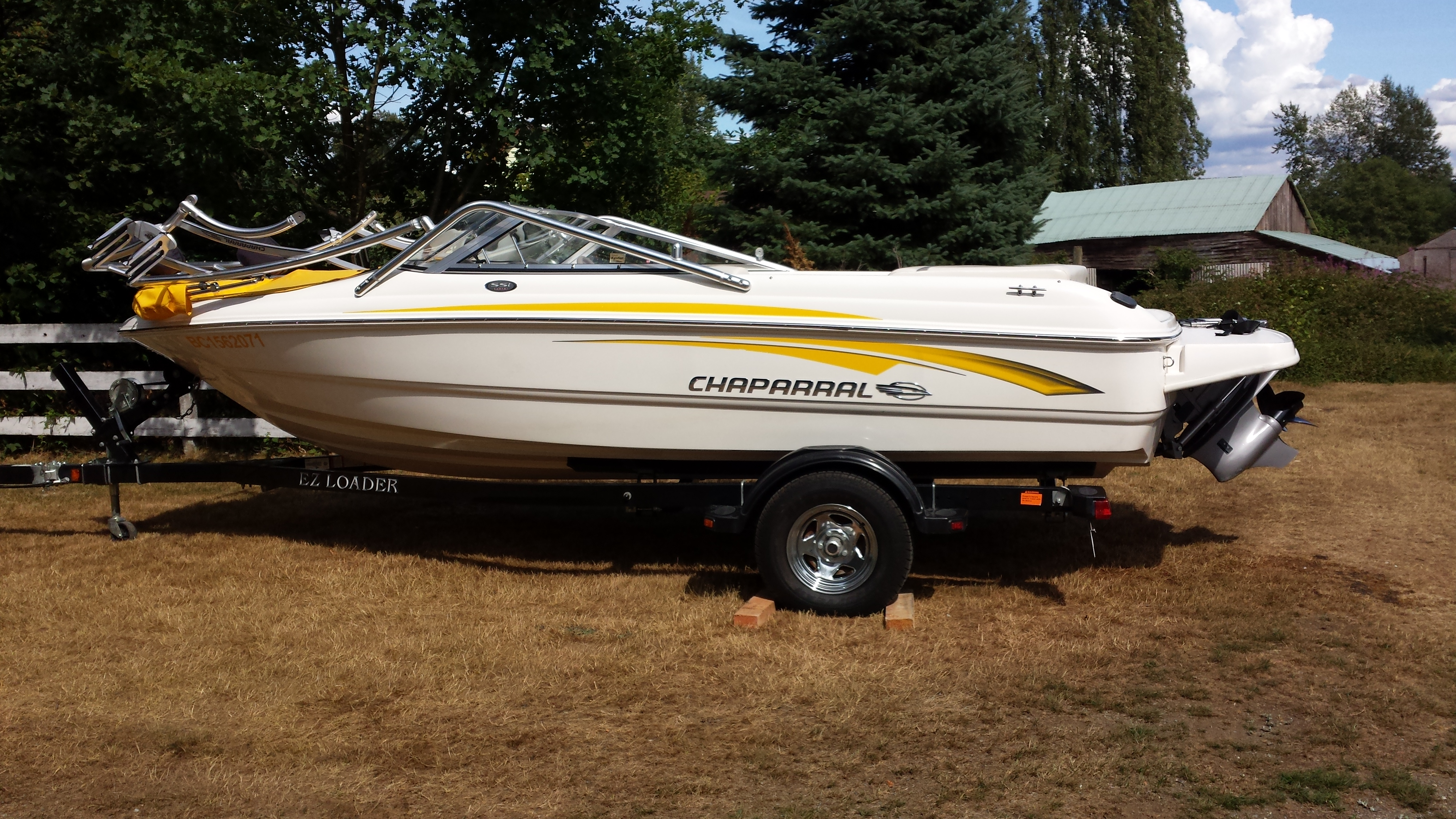 Chaparral ski boat with boat repair service including hull fiberglass and gelcoat repairs for a Abbotsford BC customer.