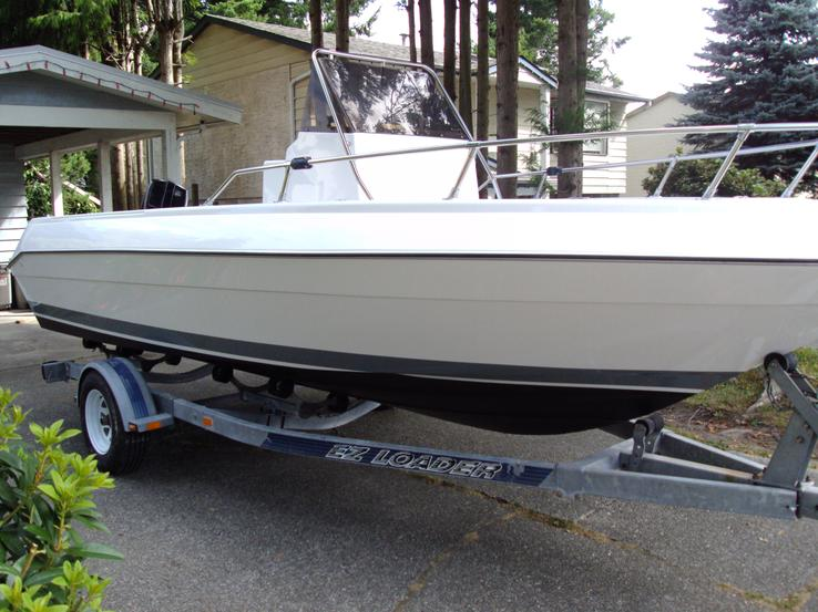 Sport fishing boat with complete new hull and topside paint job and antifouling bottom painting for a Coquitlam BC customer.